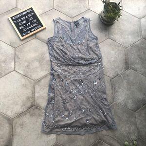 Adrianna Papell Sequin Blouson Beaded Silver Dress